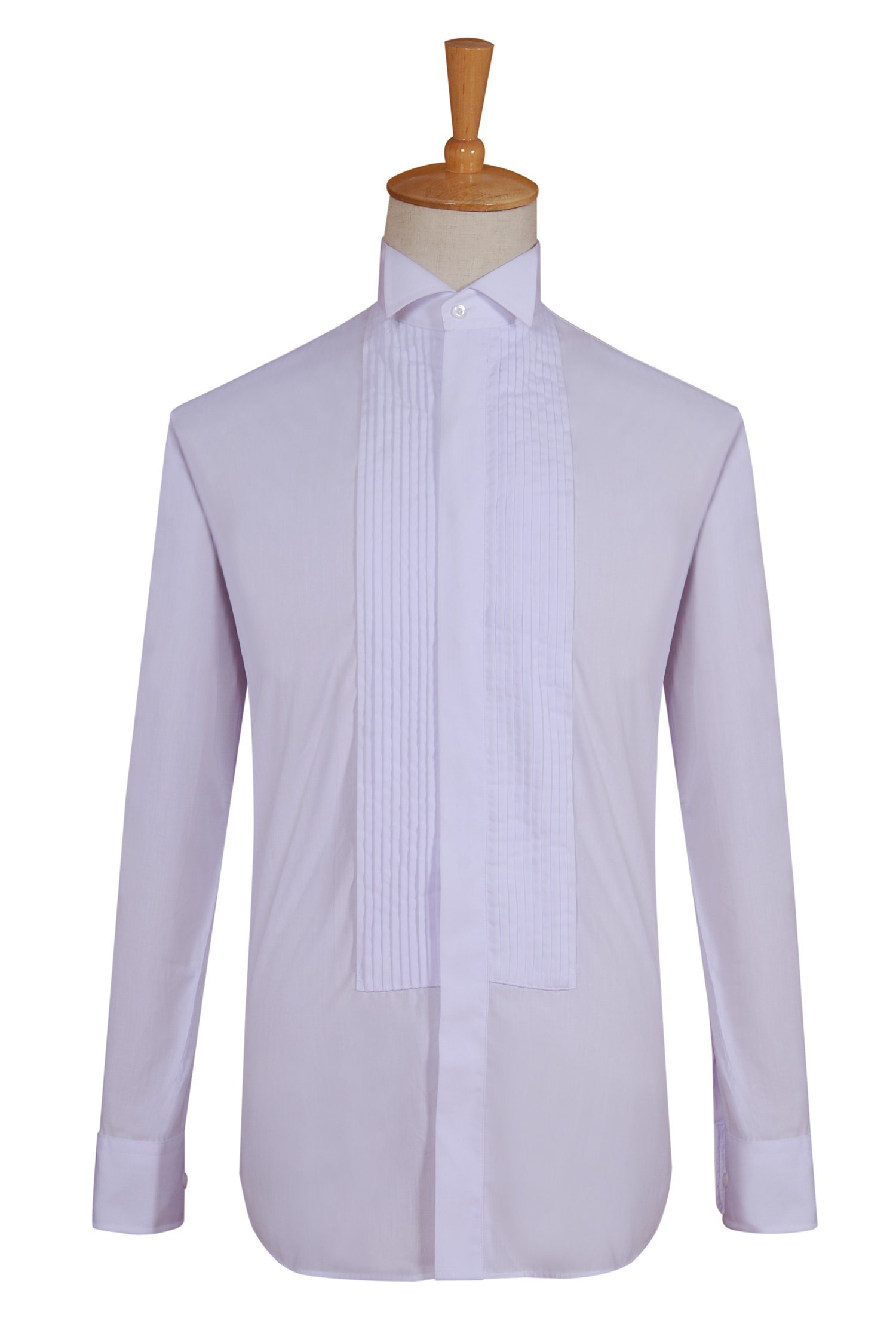 Poly//Cotton 1//4 Inch Wing Collar White Formal Shirts Mens Tux Shirt