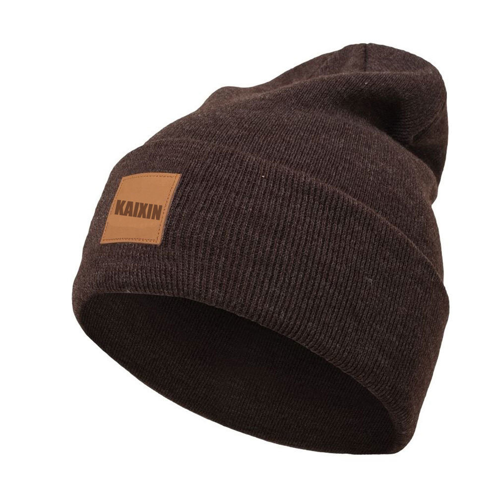 0ed30b96436e8 China Wholesale Plain Leather Patch Knitted Beanie Hat Photos ...