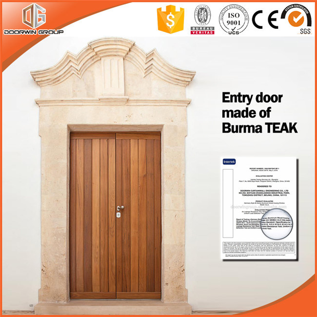 Oak Interior Wooden Double Safety Door Arch Top Design Glass French One Sash Entry
