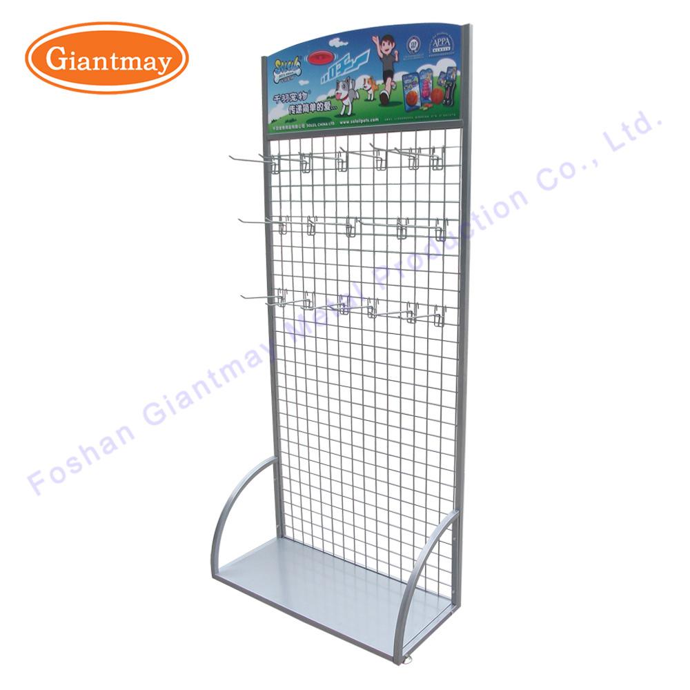 China Metal Floor Wire Mesh Retail Hanging Display Rack with Hooks ...