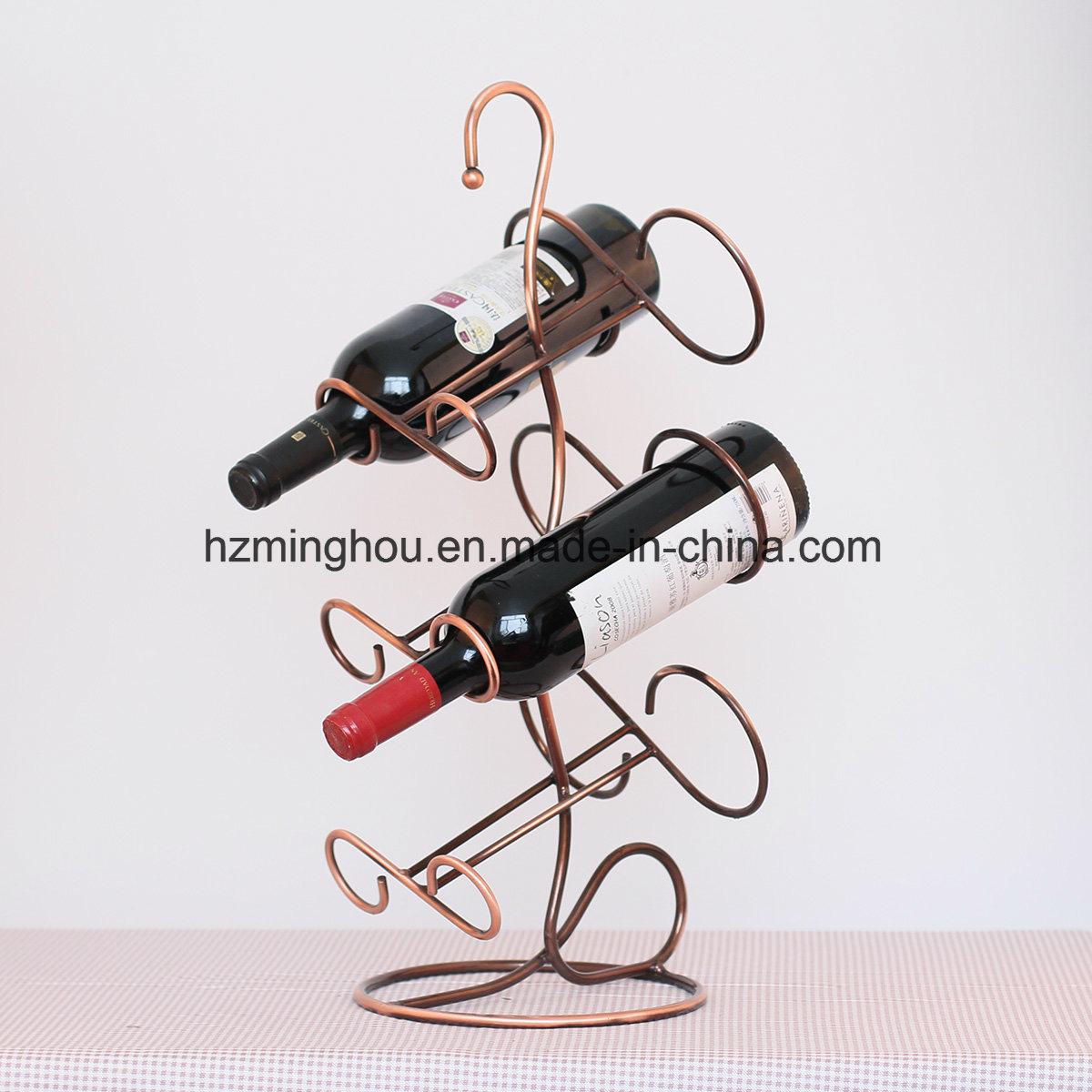 China Free Standing Metal Wine Rack Table Top Wine Bottle Holder