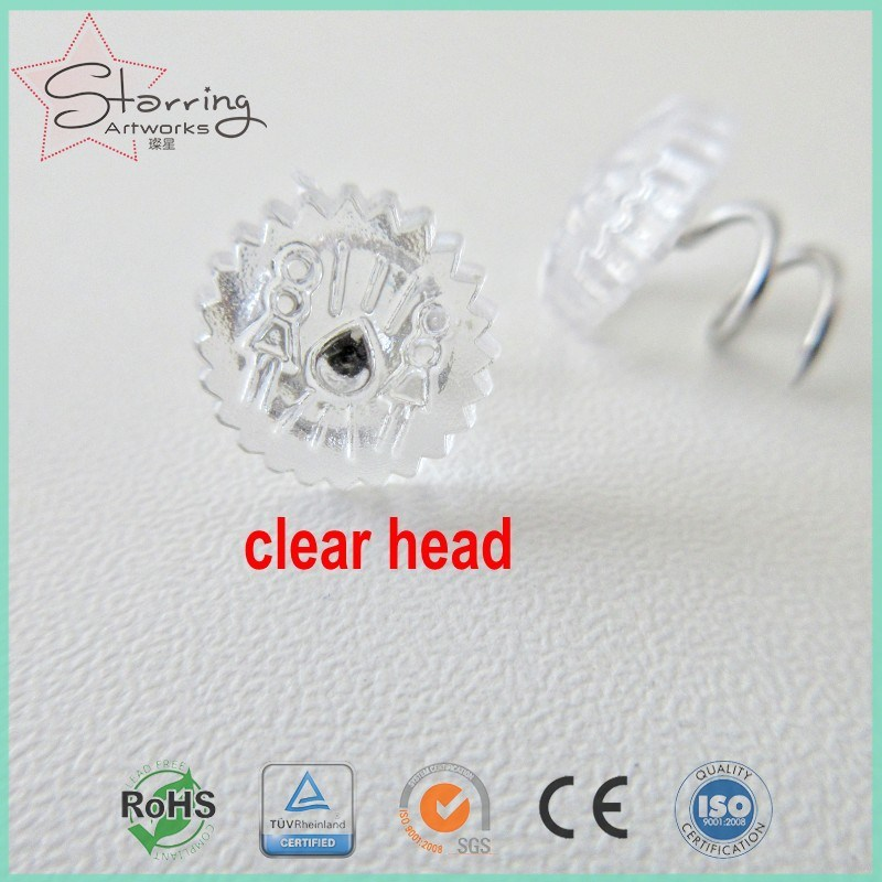 China 13mm Clear Plastic Head Steel Upholstery Twist Pins Photos