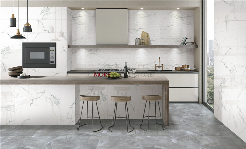 China 3d And Soft Finish Staturior Calacatta White Marble Effect Tile For Home Decor China Glazed Tile Home Decor