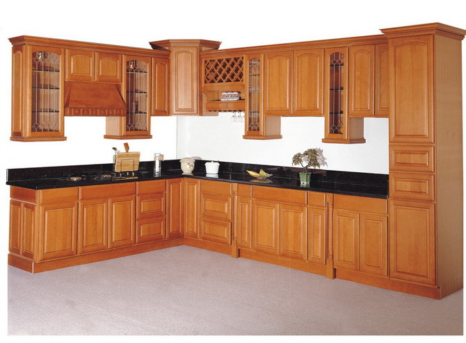 China Solid Wood Kitchen Cabinet (KC-007)
