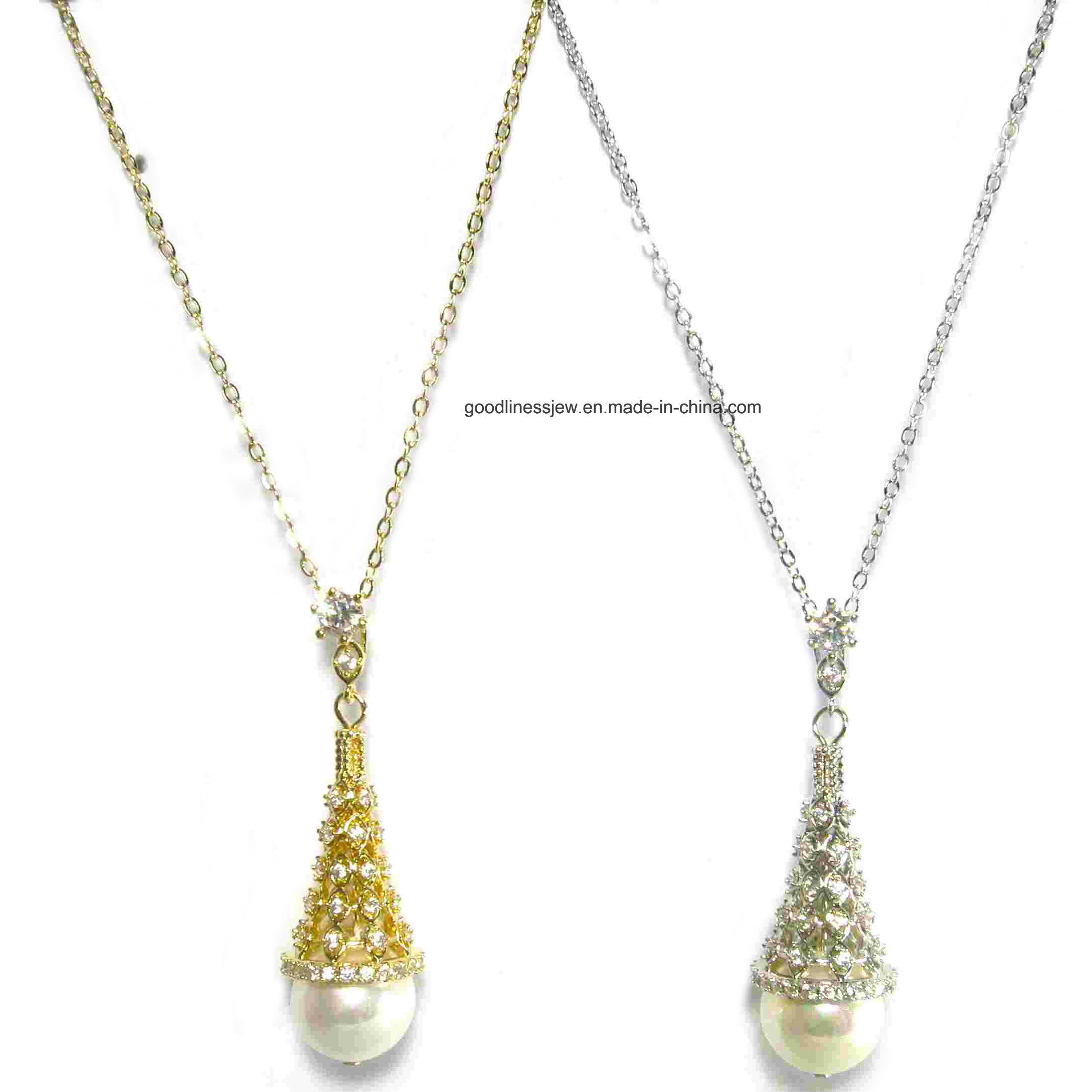 Jewelry Necklace Beaded Imitation Pearl Crystal Pendant Necklace Woman Bridal Fashion Jewellery Necklace Set 925 Sterling Silver Jewelry Chain Gold Necklace pictures & photos