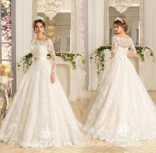 China 3 4 Sleeves Bridal Ball Gowns Custom Lace Wedding Dress Wd80