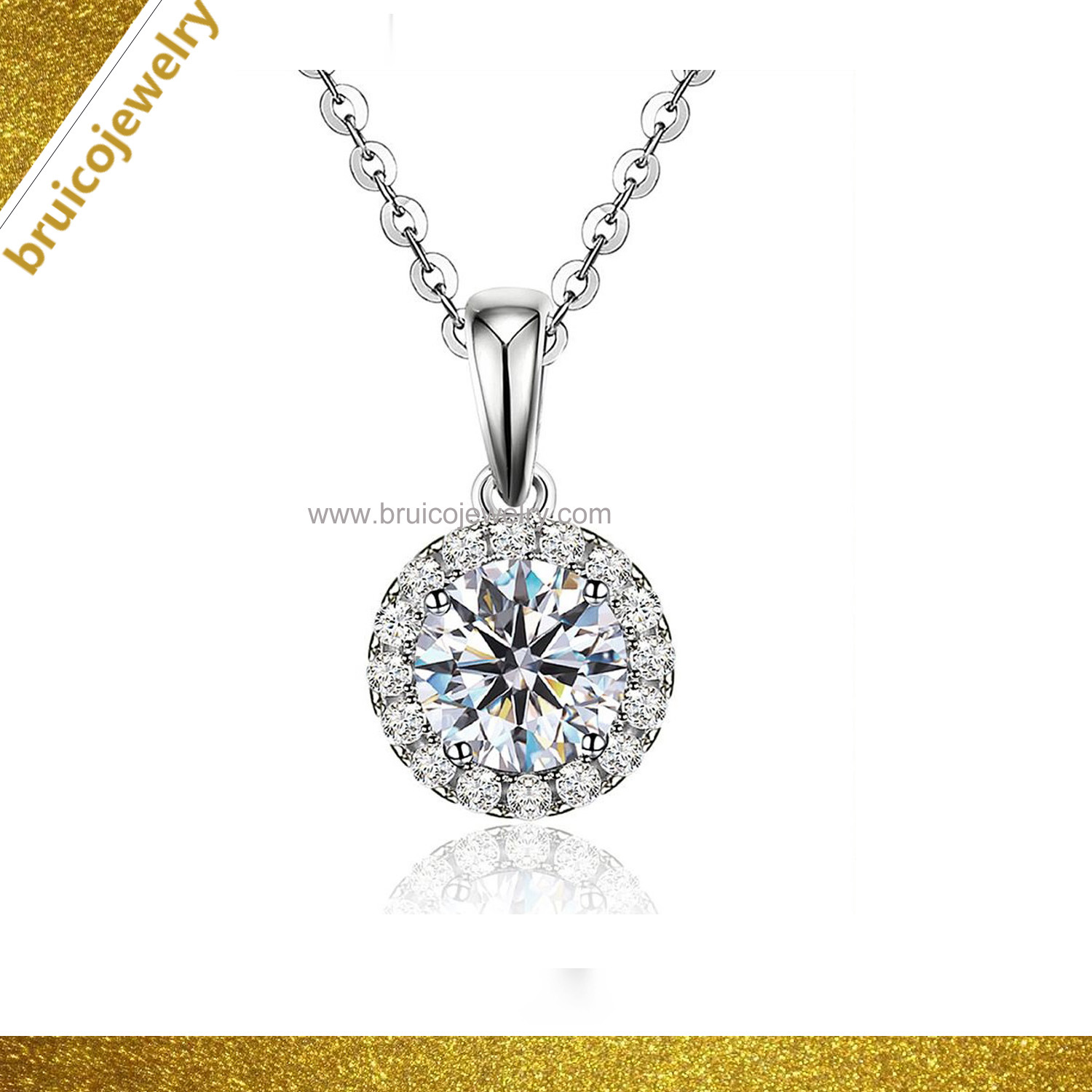Elegant 925 Silver Jewelry Custom Round Gold Pendant Jewellery Necklaces with Zircon for Women pictures & photos