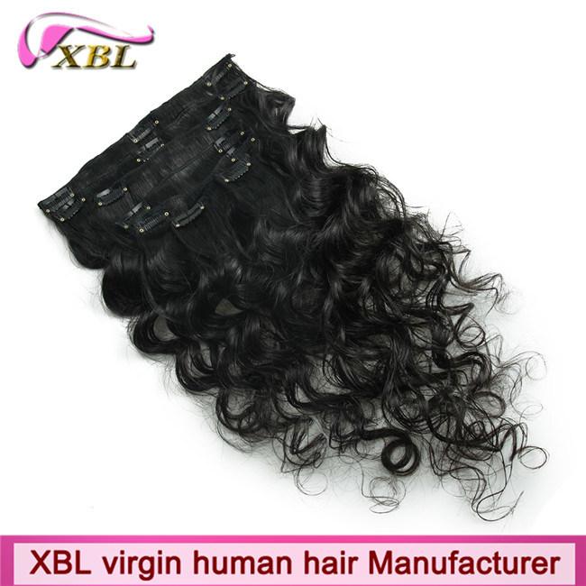 China Clip In Hair Virgin Brazilian Human Hair Clip Hair Extension