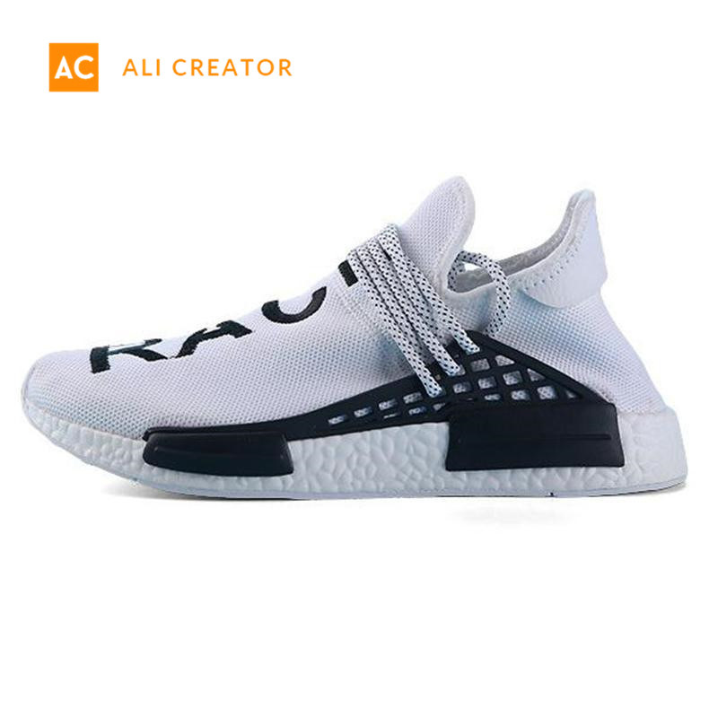 online retailer abd12 83424 [Hot Item] with Box Human Race Mens Designer Shoes Hu Runner Pharrell  Williams Yellow Core Black Running Shoes Men Women Sneakers 36-45