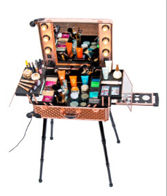 China Professional Aluminum Trolley Makeup Station Case With Lighted
