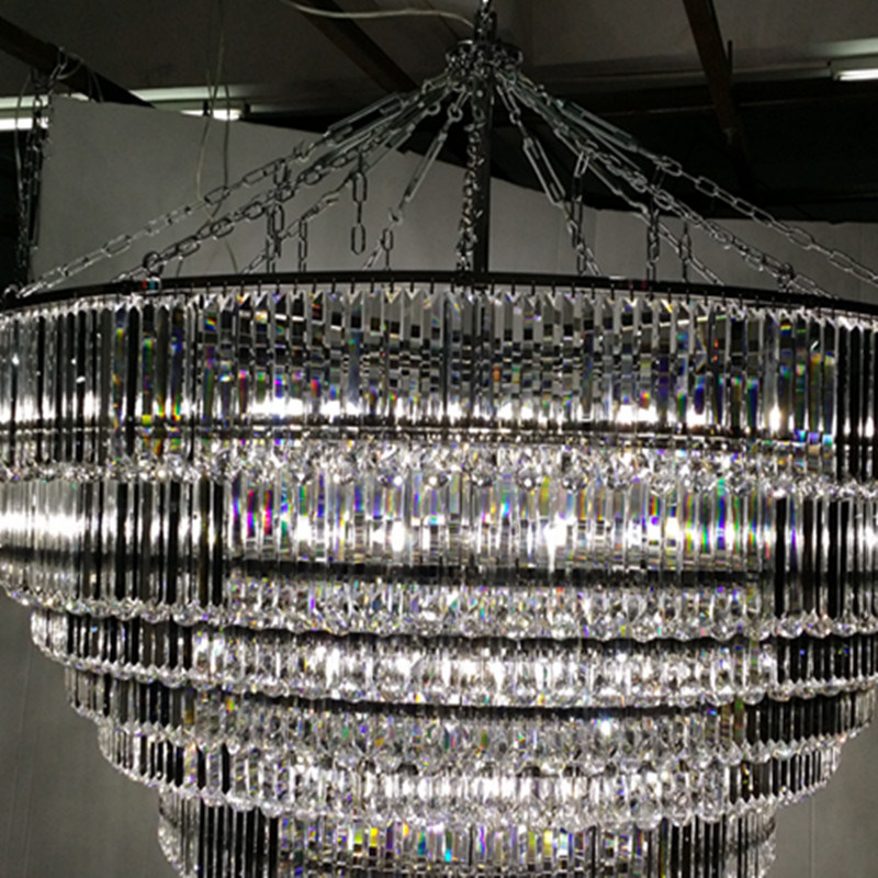 High Quality Hotel Lobby Multilevel Large Led Crystal Chandelier