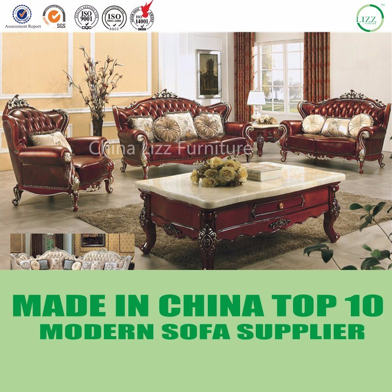 China Luxury American Tufted Italian Leather Chesterfield Sofa Living Room Furniture Mahogany Set