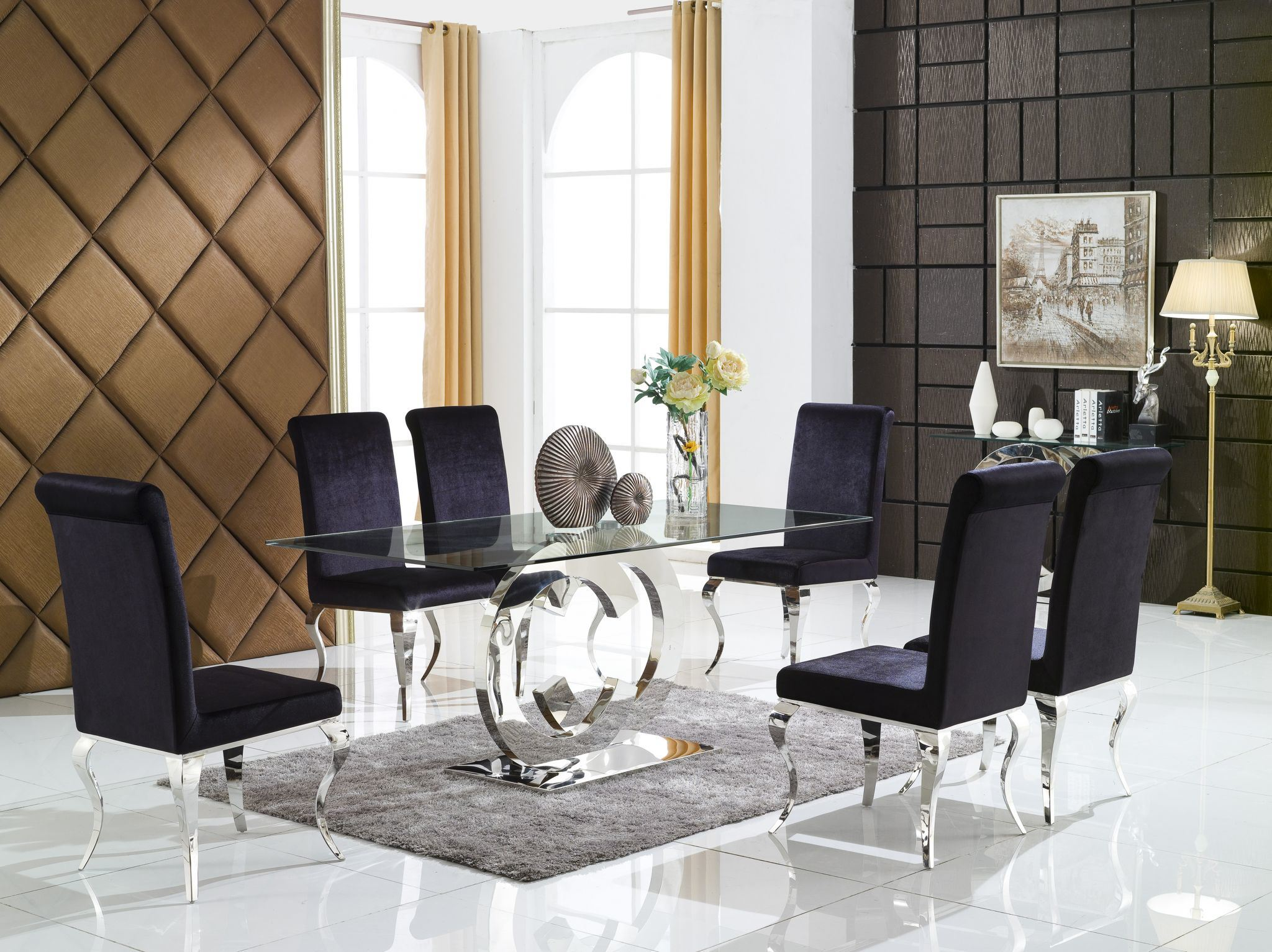China modern furniture dining room set metal clear glass table with two c circles chrome base china dining set modern furniture