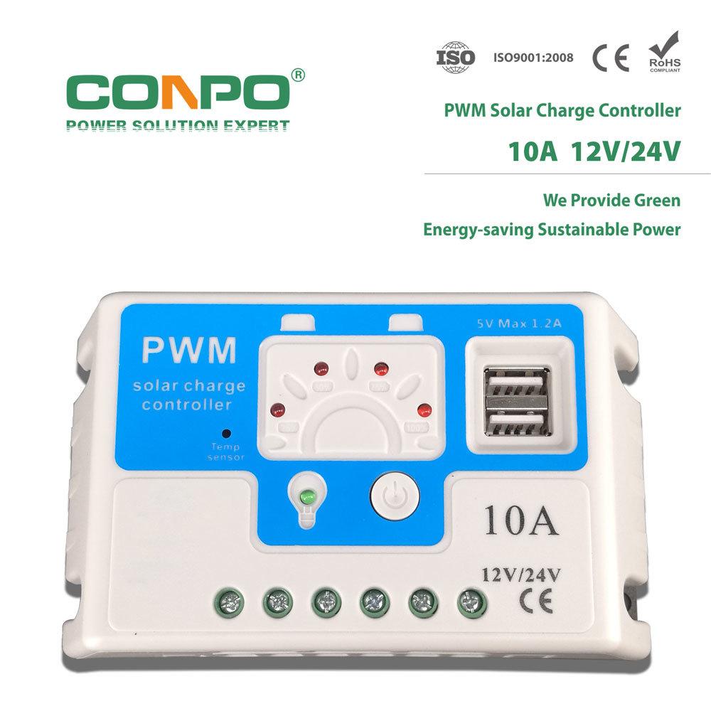 China CF210 10A, 12V/24V Auto , USB, LED, PWM Solar Charger