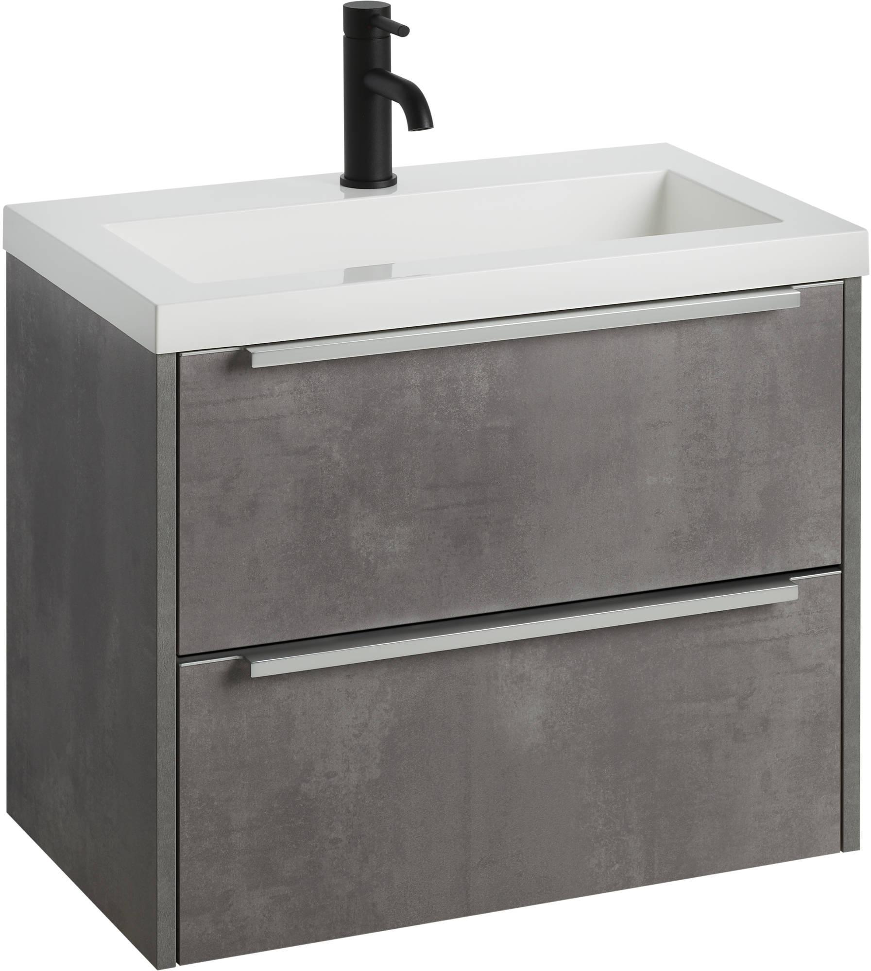 2 Drawers 60cm Concrete Gray Bathroom
