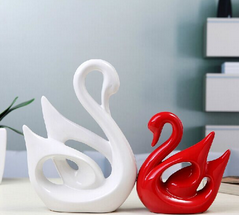 [Hot Item] Pottery Swan Lover Home Decoration Handmade Crafts Wedding Gifts  2 Pieces/Lot