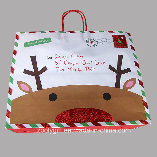 Hot Item Quality Christmas Printing White Kraft Paper Bag With Glitter Spots Decoration