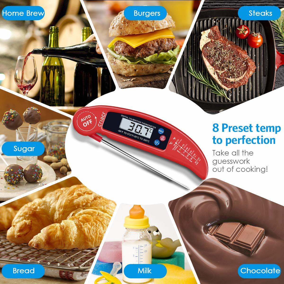 [Hot Item] 4 Color Food Thermometer Digital Instant Read Meat Thermometer  with Probe for Kitchen Cooking BBQ