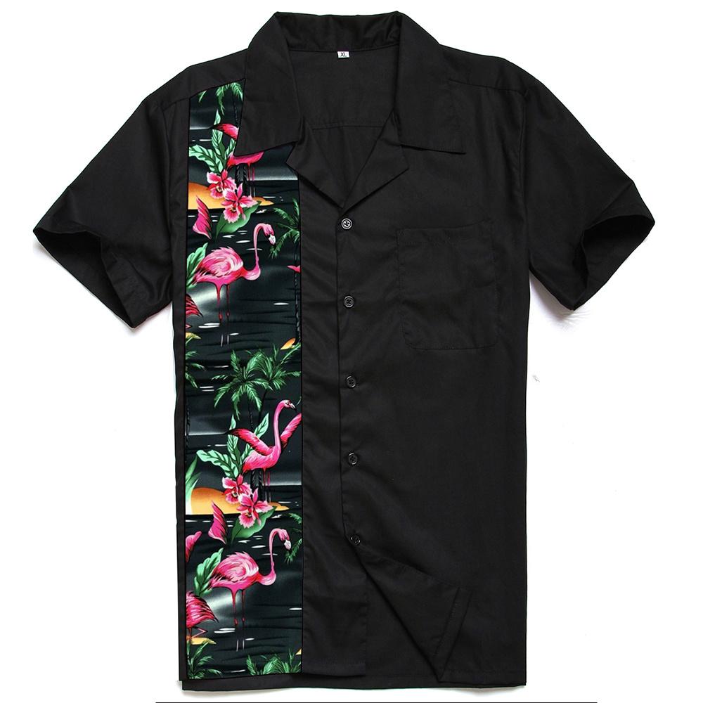 China Summer Punk Men′s Floral Flamingo Shirt Rockabilly Vintage Clothing  for Men - China Punk Flamingo Shirt, Flamingo Shirt