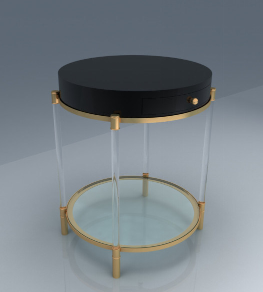 China Luxury Two Tiers Acrylic Round Table With Wheels For Living