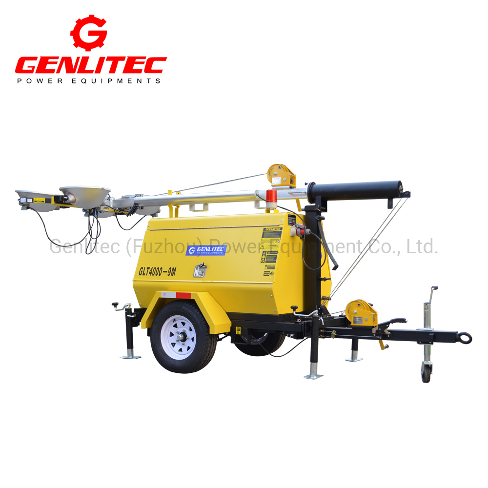 Genlitec Power Outdoor 5m/7m/9m Manual 5kw~8kw Diesel Generator LED/Metal Halide Lamps Portable Mobile Light Tower for Emergency Construction or Mining Site