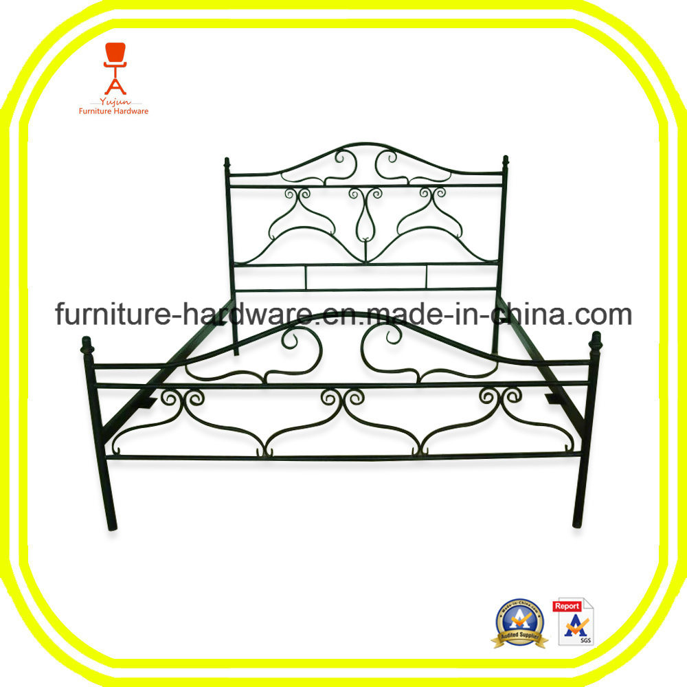 China Queen Size Antique Metal Bed Frame with Posture Slats Black ...