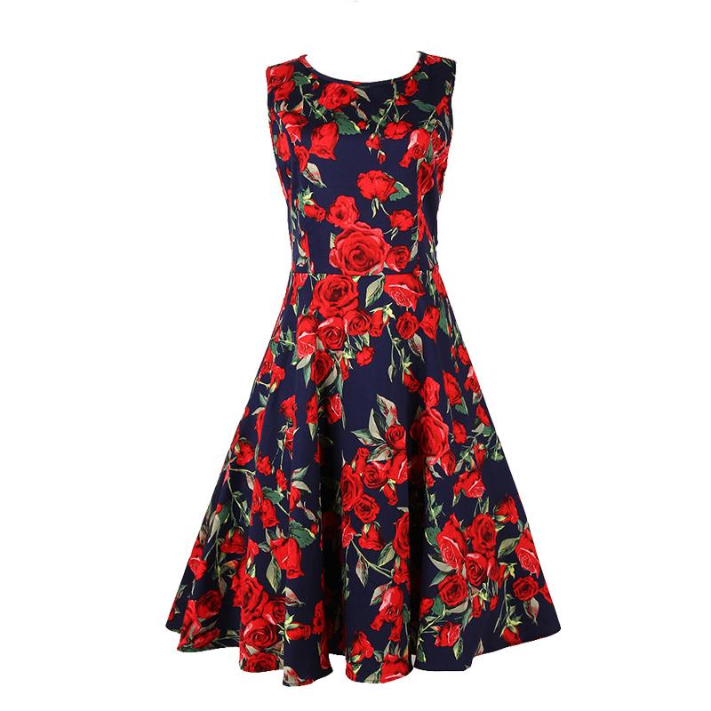 China Wholesale Clothing Manufacturer 50s Floral Dresses Plus Size