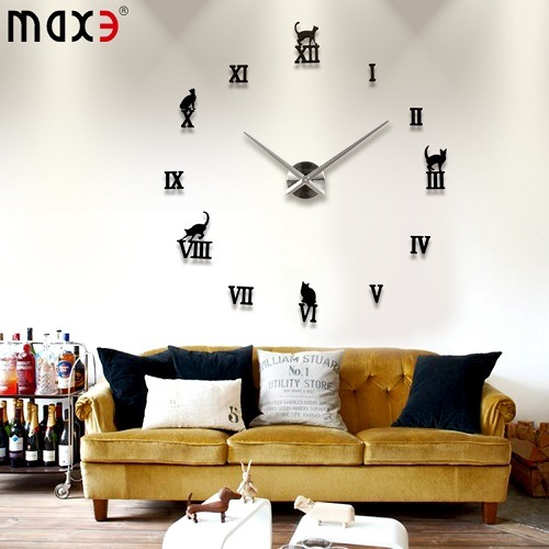 China Original Brand Large Frameless Wall Clock Style Watches Hours Mirror Sticker Watch Diy Room Home Decorations Decoration