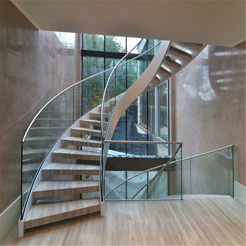 China Modern Curved Staircase with Glass Railings - China ...