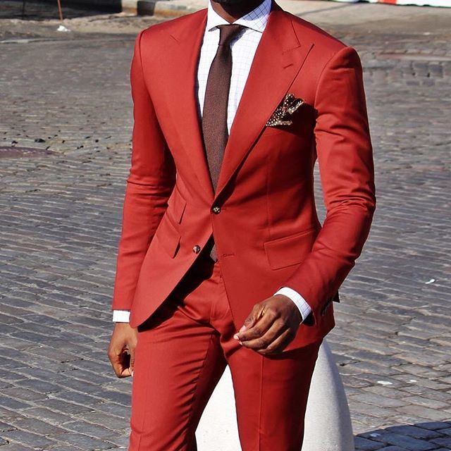 China Slim Fit Red Wedding Suit for Groom - China Suit, Groom Suits