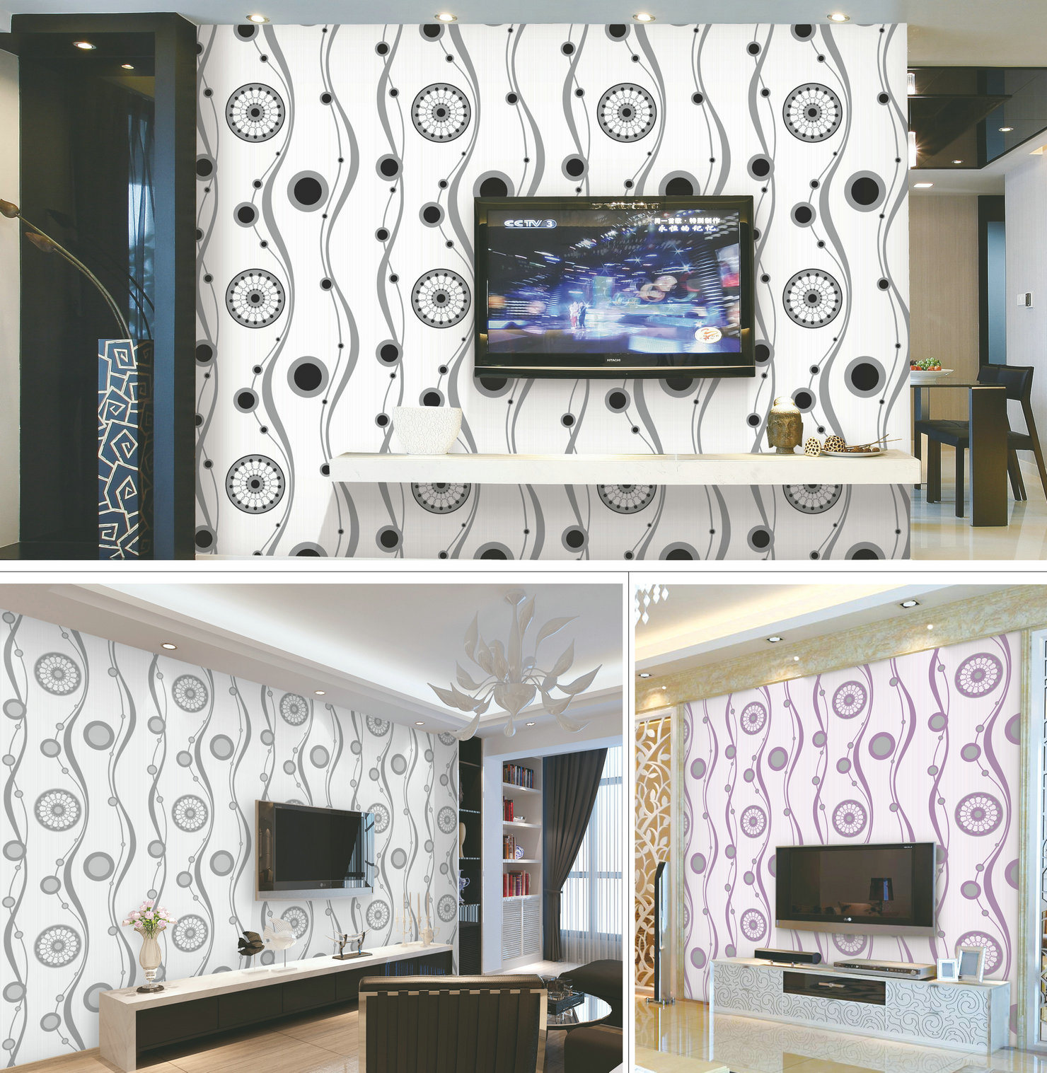 china decorative interior 3d wallpapers guangzhou with pvc
