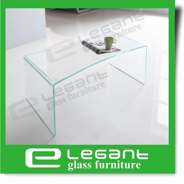 Clear Bent Glass Coffee Table with Frosted Shelf pictures & photos