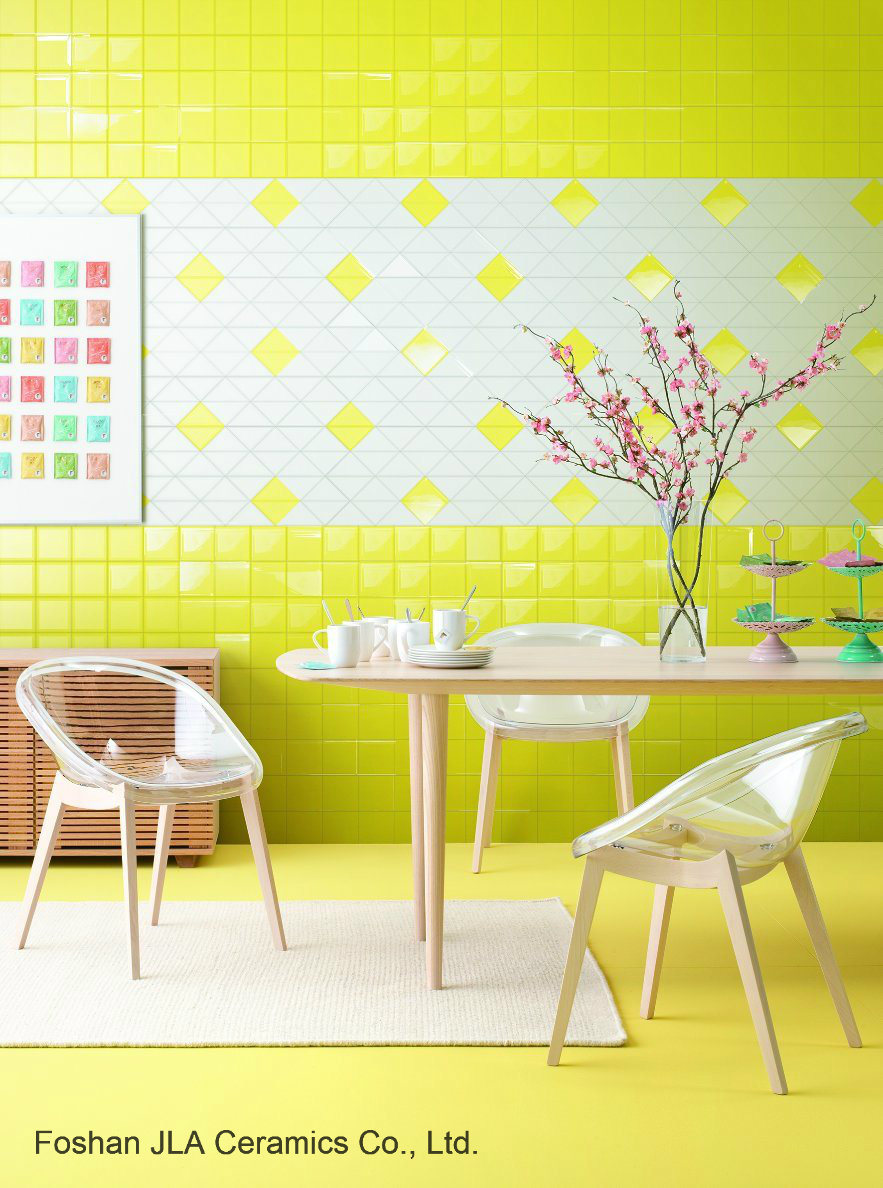 China Light Yellow 6x6inch15x15cm Glazed Ceramic Wall Tile Bathroom