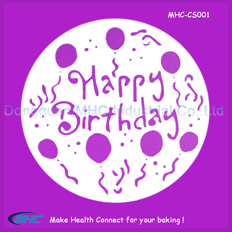 China OEM Size Happy Birthday Cake Stencil Template With High Quality