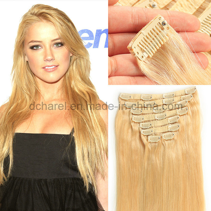 China 100 European Hair Lightest Blond White Clip In Hair Extension