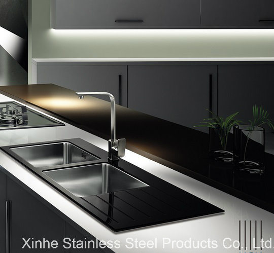 China Tempered Glass Top Stainless Steel Kitchen Sink With