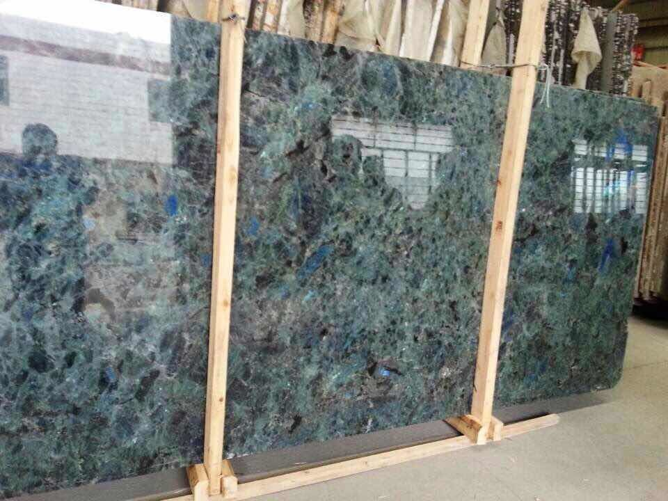 China Lemurian Blue Granite Slab For Interior Decoration