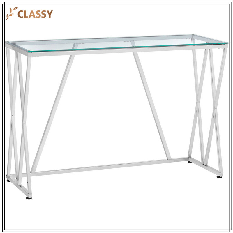 Merveilleux China Transparent Glass Living Room Console Table Silver Stainless Steel  Side Table   China Living Room Furniture, Console Table