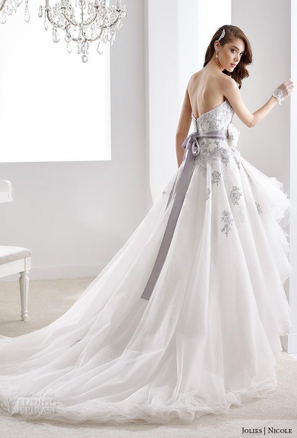 China Purple Lace Bridal Gown Color Accent Hi Low Wedding Dress