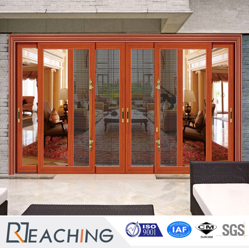China Wood Grain Design Aluminumdouble Glass Sliding Door With Fly