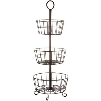 Black Three Tier Basket Stand Wire Metal Rack