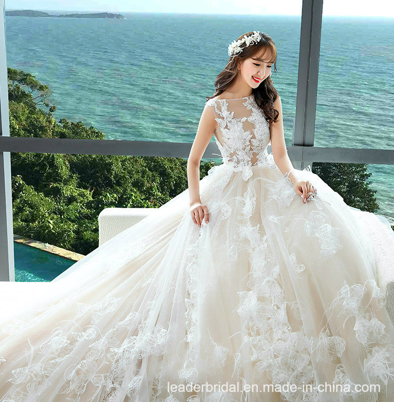 Wedding Gown Tops: China Sheer Lace Top Bridal Ball Gowns Feather Lace