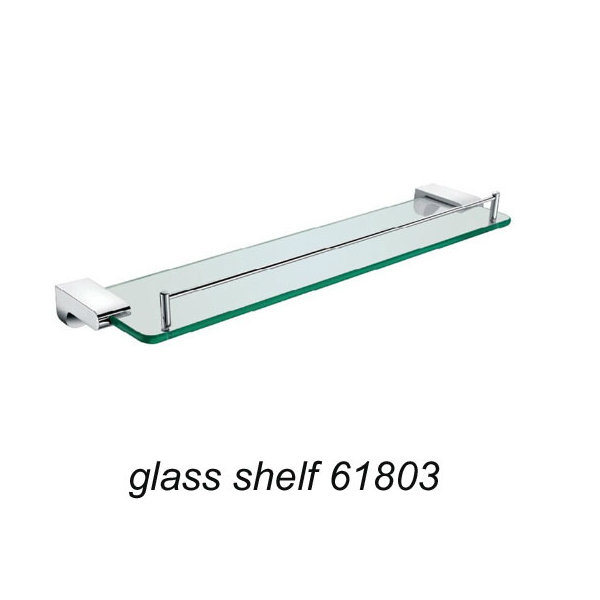 Wall Mounted Zinc Alloy Glass Shelf Chrome Finish 61803 pictures & photos