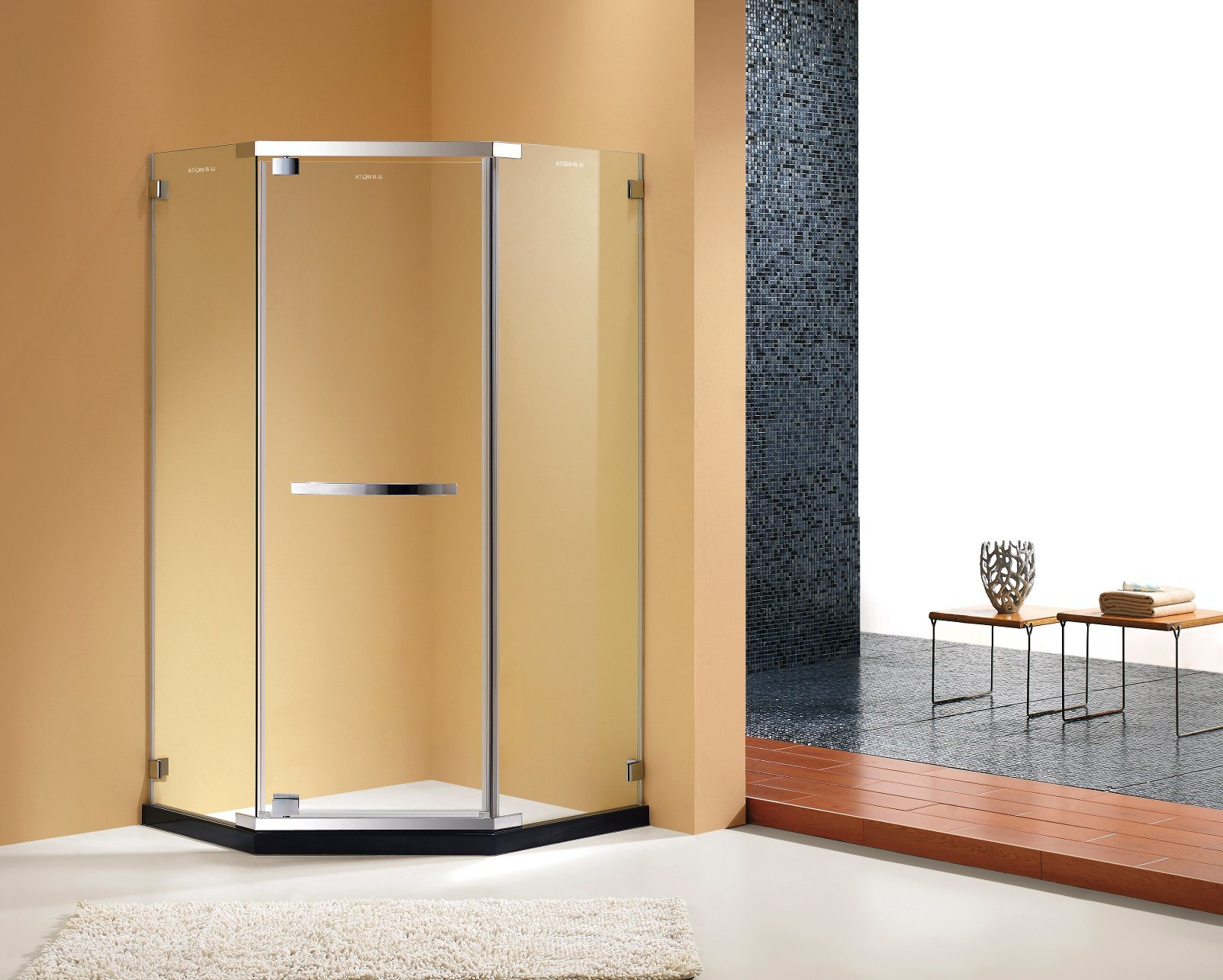 China 8mm Tempered Glass Diamond Shape Shower Cabin Shower Cubicle ...