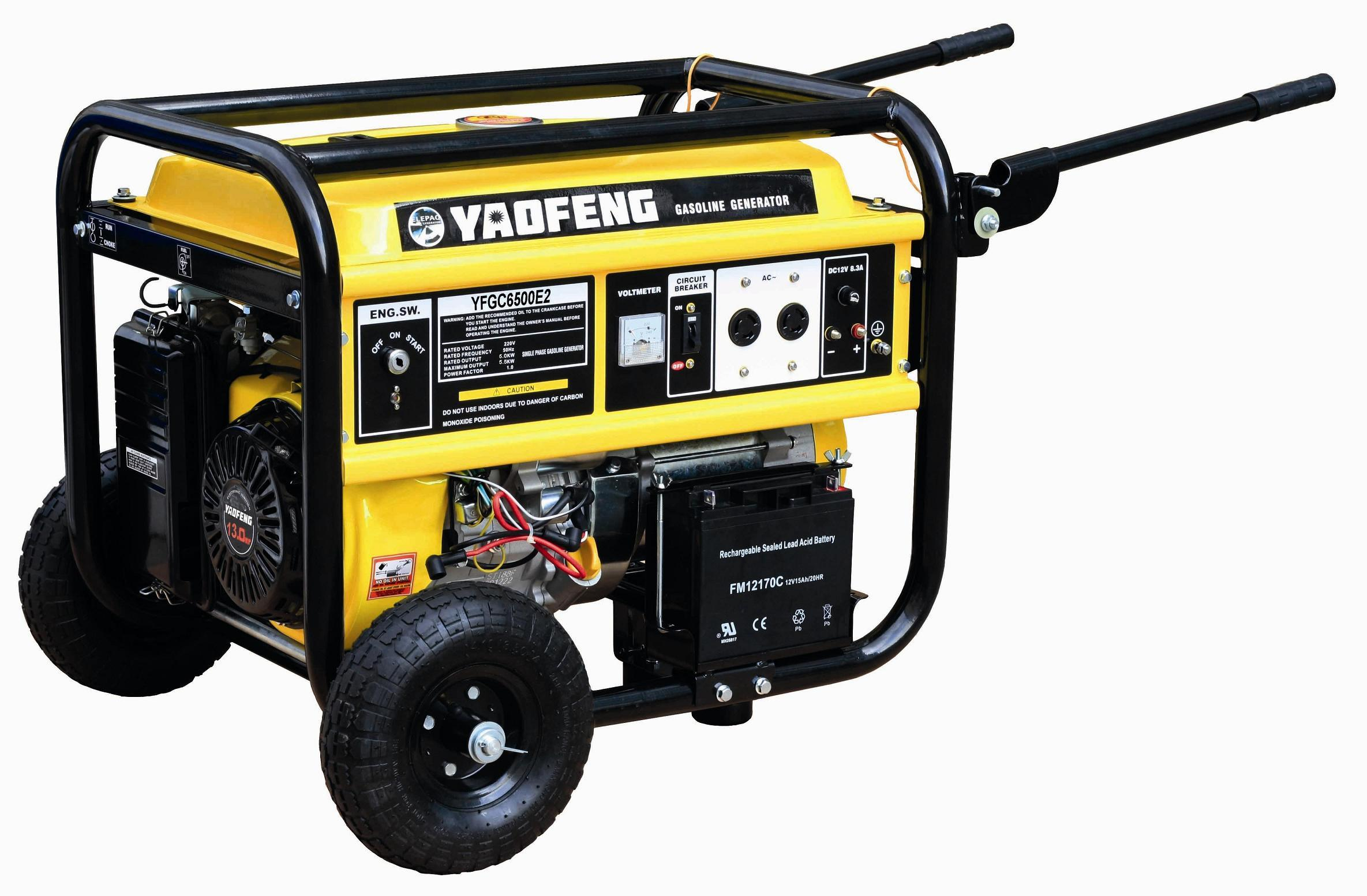 5000 Watts Electric Power Gasoline Generator with EPA, Carb, CE, Soncap Certificate (YFGC6500E2)