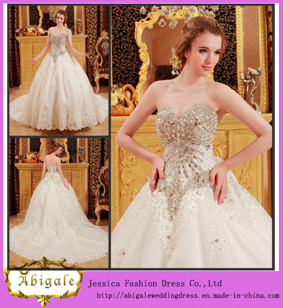 China Unique Ball Gown Sweetheart Crystals Bowknot Appliques Latest ...