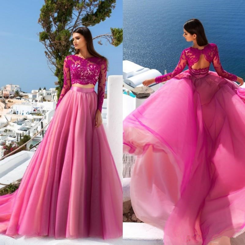 Fuchsia Gown: China Fuchsia Pink Lace Bodice Party Gowns Beaded Evening