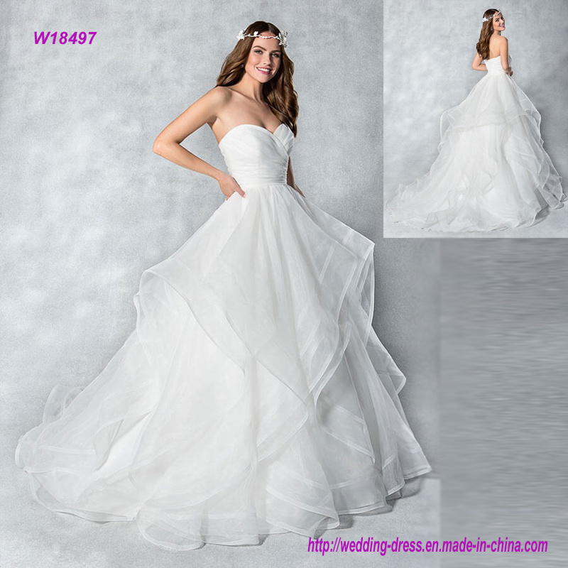 China Strapless Organza Ball Gown Wedding Dress With Layers Skirt