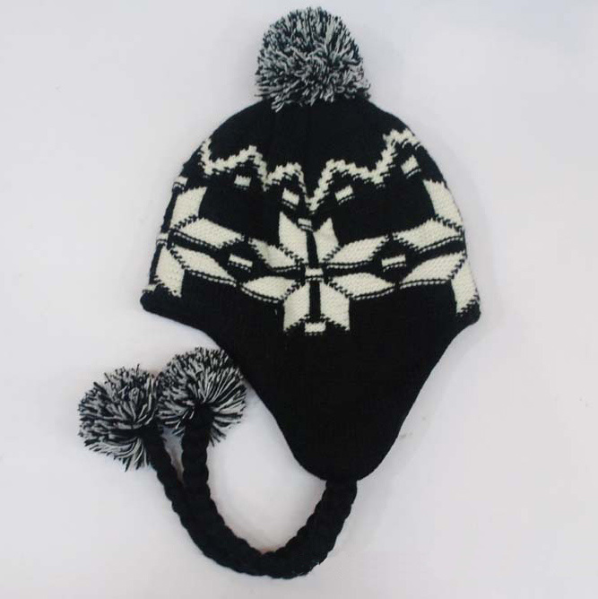 f8d4ac53825bd [Hot Item] Kids Children Cute Winter Snow Printing Warm Knitted Beanie  Outdoor Earflap Crochet Caps Head Ear Warmer Ski Aviator Hat (HW617)