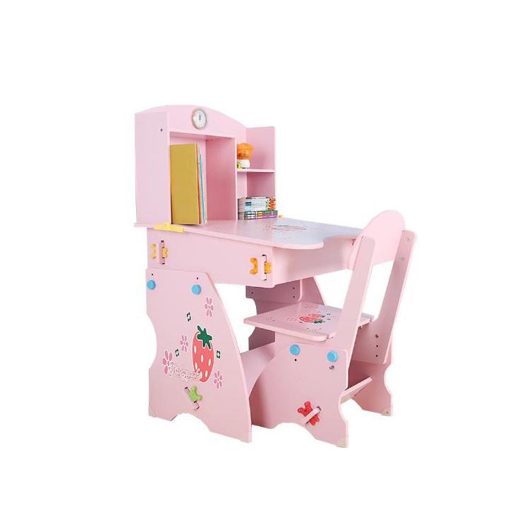 Wooden Kids Children Desk And Chair Sets, Pink Wooden School Desk